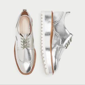 ✨NEW✨ Zara Metallic Lace-up Platform Loafers